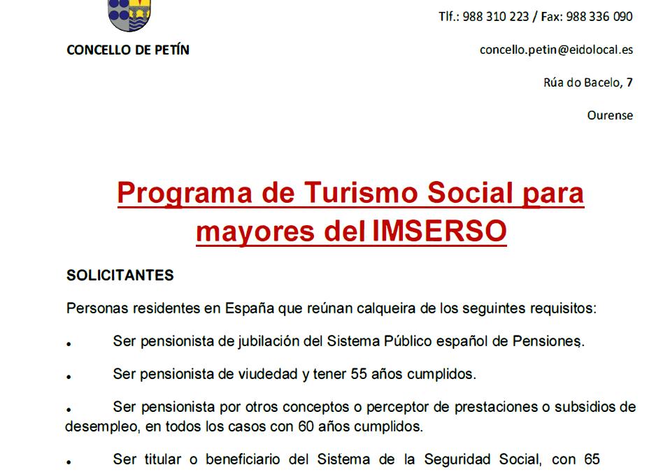 PROGRAMA DE TURISMO SOCIAL PARA MAYORES DEL IMSERSO