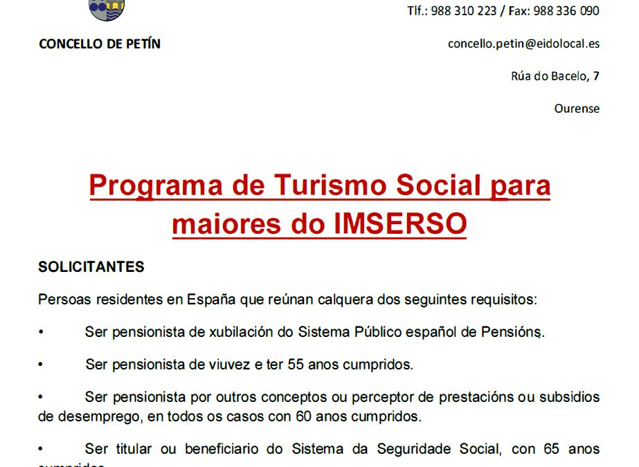 PROGRAMA DE TURISMO SOCIAL PARA MAIORES DO IMSERSO