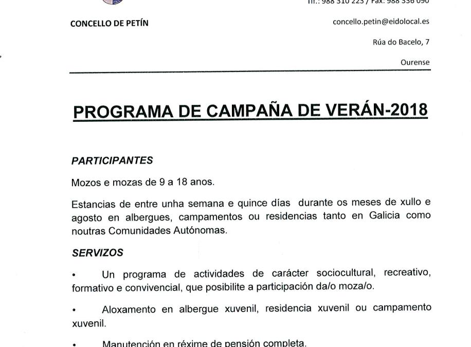 PROGRAMA DE CAMPAÑA DE VERÁN 2018