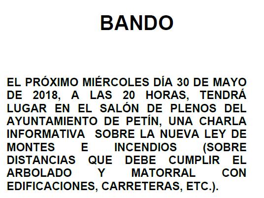 BANDO CHARLA INFORMATIVA NUEVA LEY DE MONTES E INCENDIOS