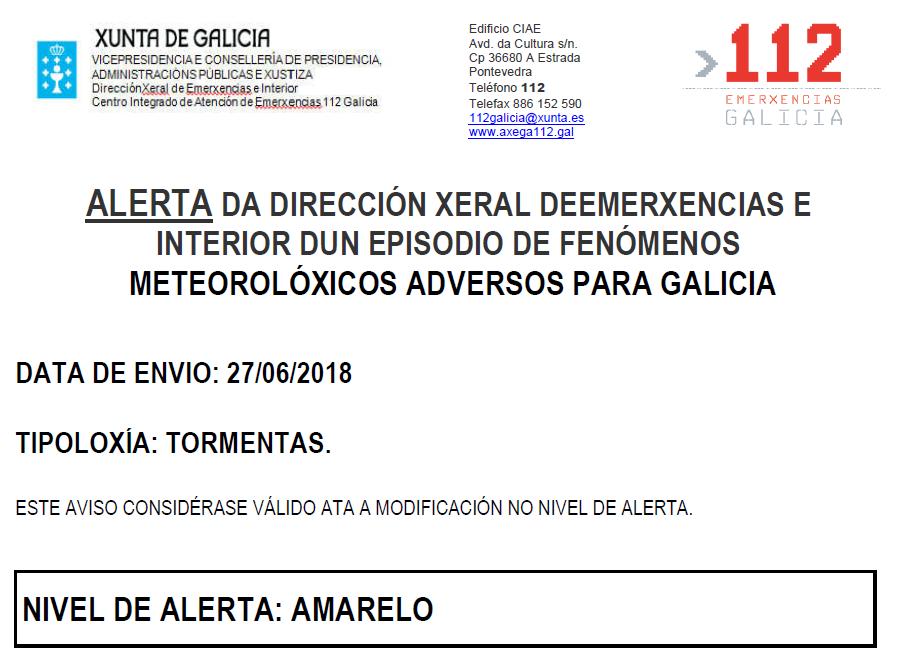 ALERTA AMARILLA POR TORMENTAS 27/06/2018