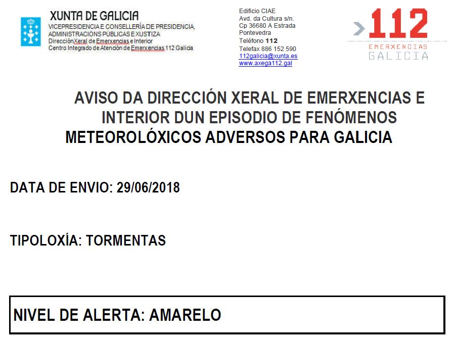 ALERTA AMARELA POR TORMENTAS