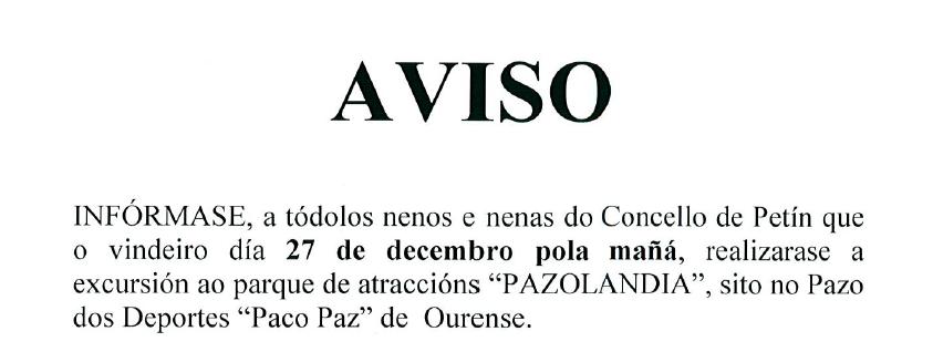 EXCURSIÓN A PAZOLANDIA 2018 DÍA 27 DE DECEMBRO DE 2018