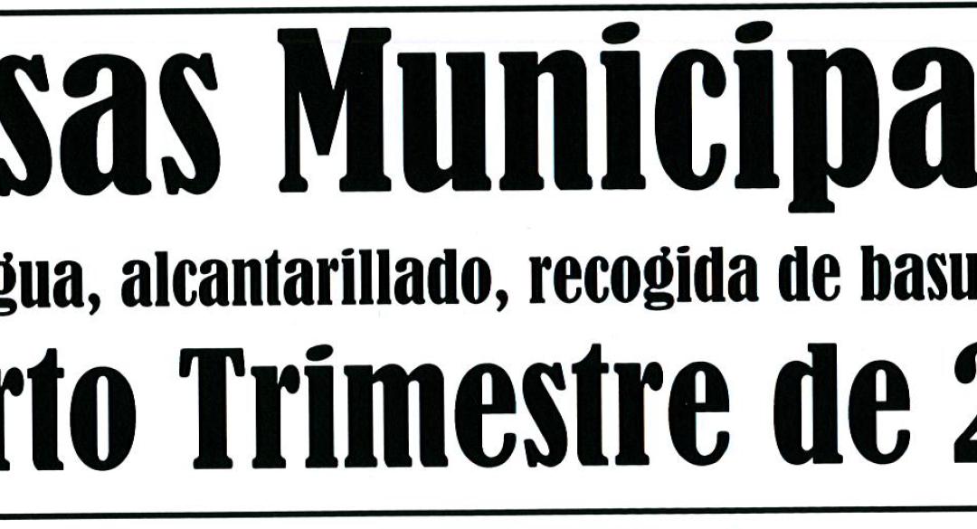 AVISO COBRO TASAS MUNICIPALES CUARTO TRIMESTRE DE 2018