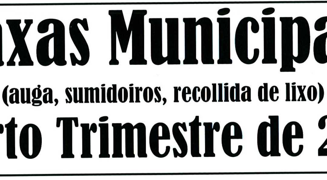 AVISO COBRAMENTO TAXAS MUNICIPAIS CUARTO TRIMESTRE 2018