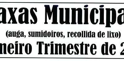 AVISO COBRO TAXAS MUNICIPAIS PRIMERO TRIMESTRE DE 2019
