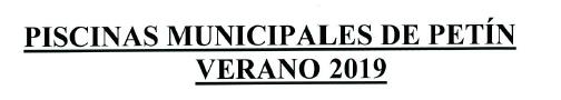 BONOS PISCINAS MUNICIPALES DE PETIN 2019