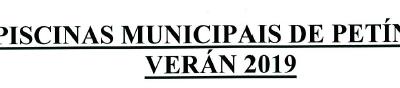 BONOS PISCINAS MUNICIPAIS DE PETIN 2019