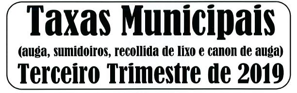 BANDO COBRAMENTO TAXAS MUNICIPAIS 3º TRIMESTRE DE 2019